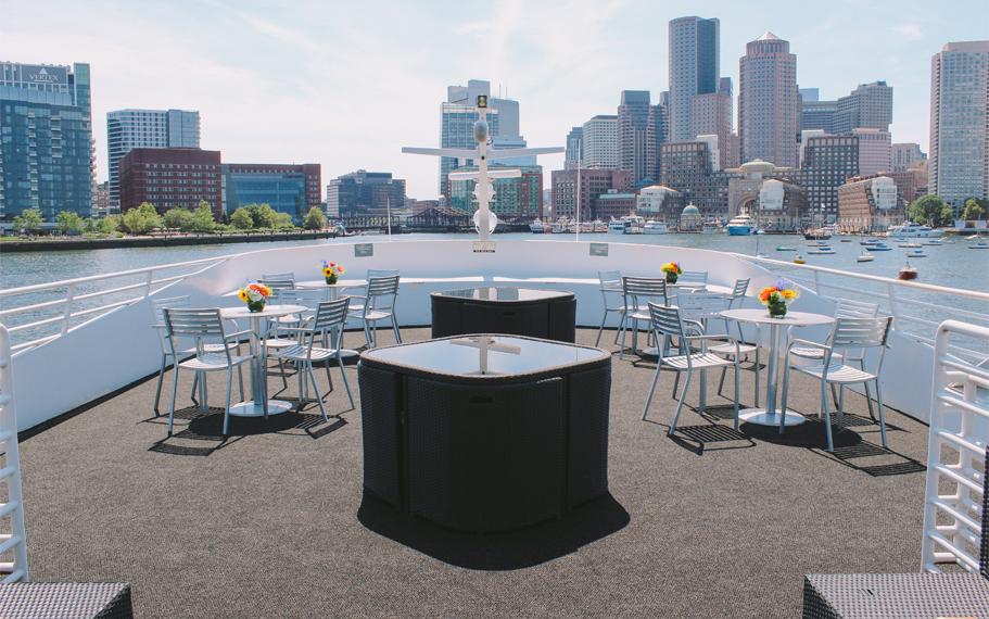 Boston Seaport Elite Luxury Yacht Lounge Deck